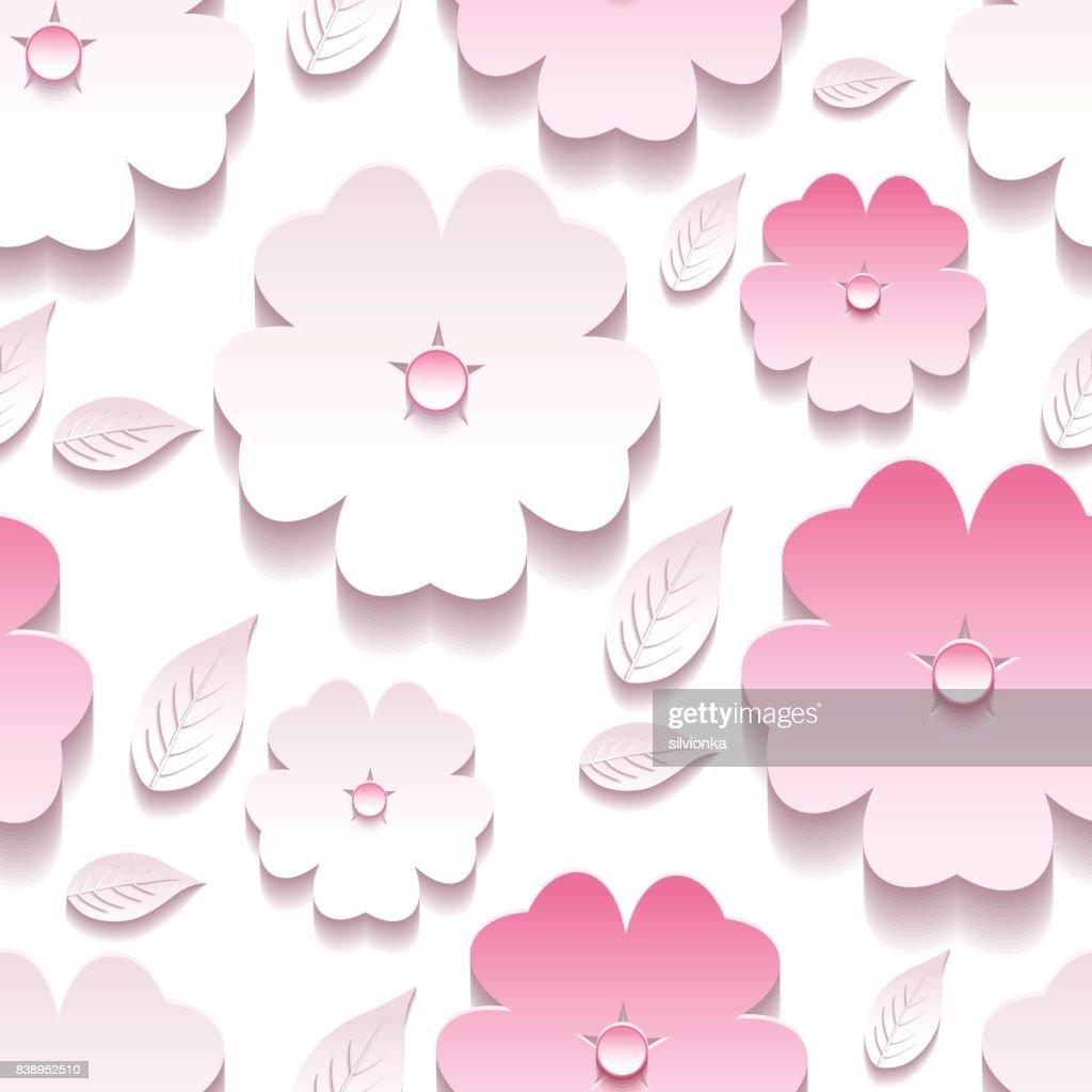 Floral background seamless pattern, pink 3d sakura blossom