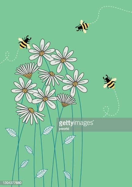 floral background . - bees on flowers stock illustrations