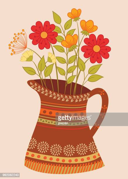 floral background . - vase stock illustrations, clip art, cartoons, & icons