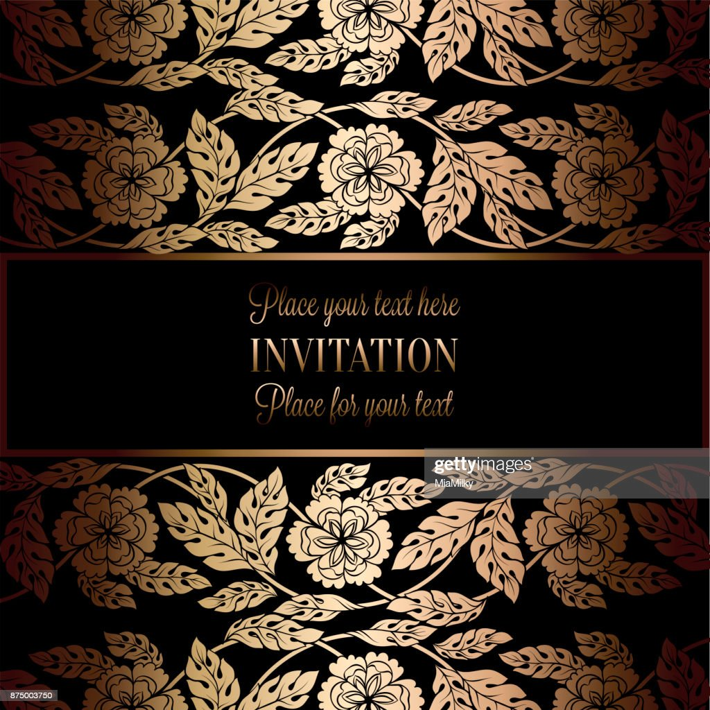 Floral Background With Antique Luxury Black And Gold Vintage Frame