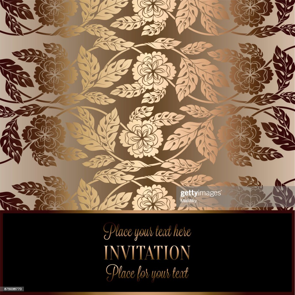 Floral Background With Antique Luxury Black Beige And Gold Vintage