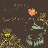 Floral background with gramophone