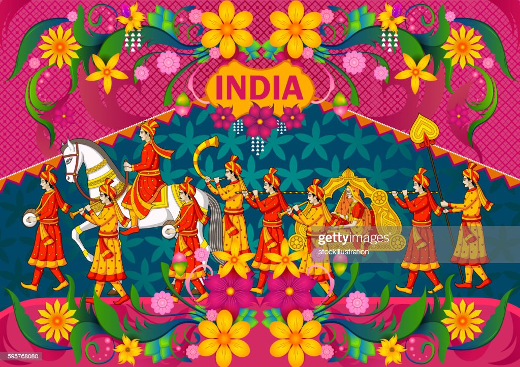 Floral background with Indian wedding baraat showing Incredible India
