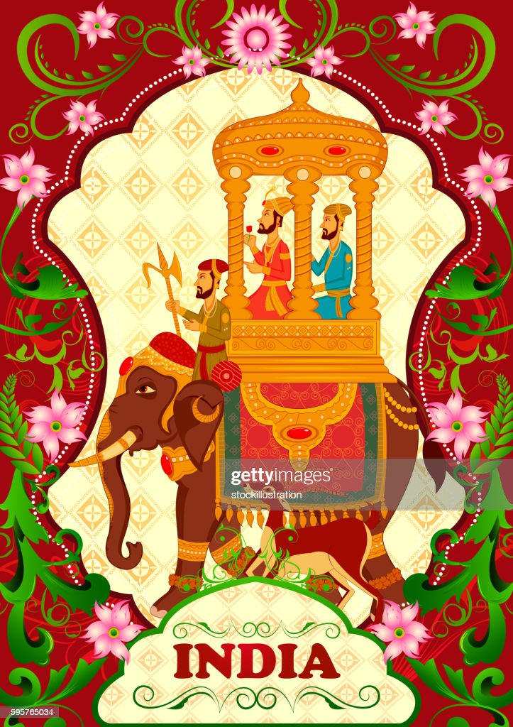 Floral background with King on elephant ride showing Incredible India