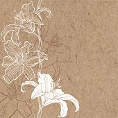 Floral background with lily on kraft paper.