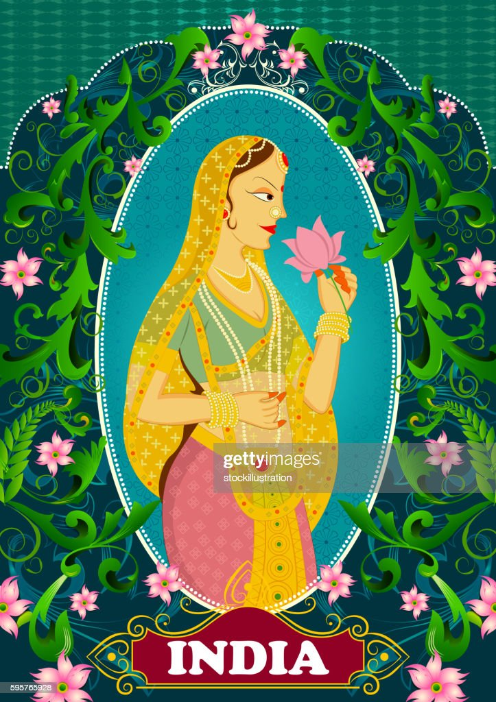 Floral background with Queen smelling lotus showing Incredible India