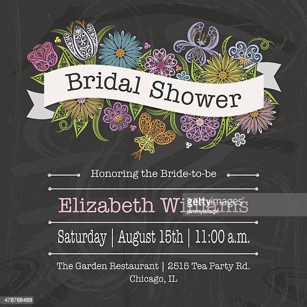 floral banner bridal shower invitation - chalk art equipment stock illustrations, clip art, cartoons, & icons