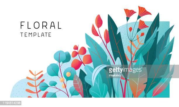illustrations, cliparts, dessins animés et icônes de modèle floral de bannière - fleur