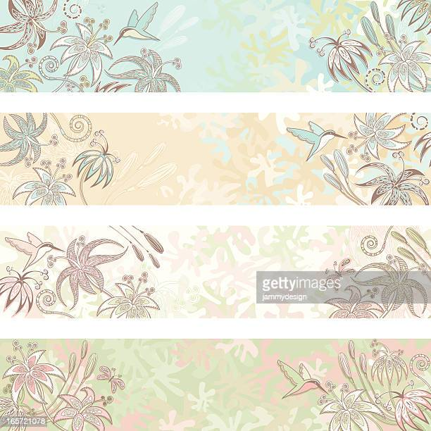 floral banners - hummingbird stock illustrations, clip art, cartoons, & icons