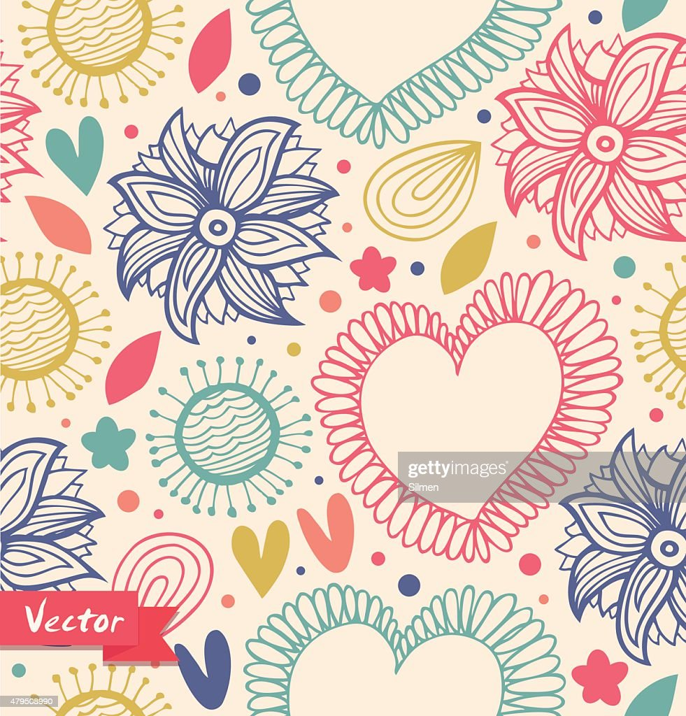 Floral beauty seamless pattern on the light background