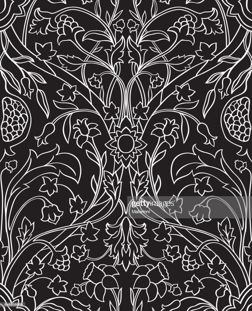 Floral  black and white pattern.