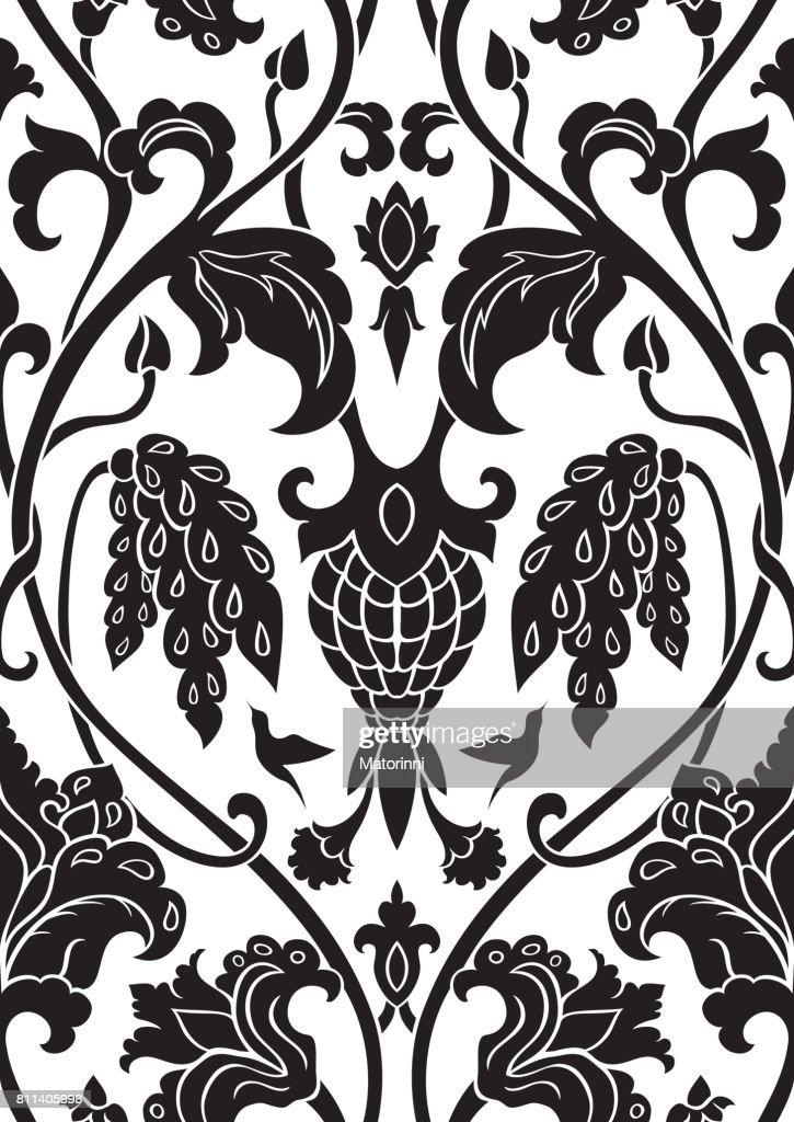 Floral black pattern.