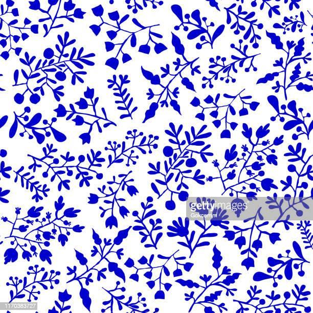 floral blue bohemian tile. vector tile pattern, lisbon arabic floral mosaic, mediterranean seamless ornament, geometric folklore ornament. tribal ethnic vector texture. - porcelain stock illustrations