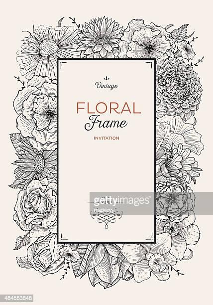 floral border illustration - rose flower stock illustrations, clip art, cartoons, & icons