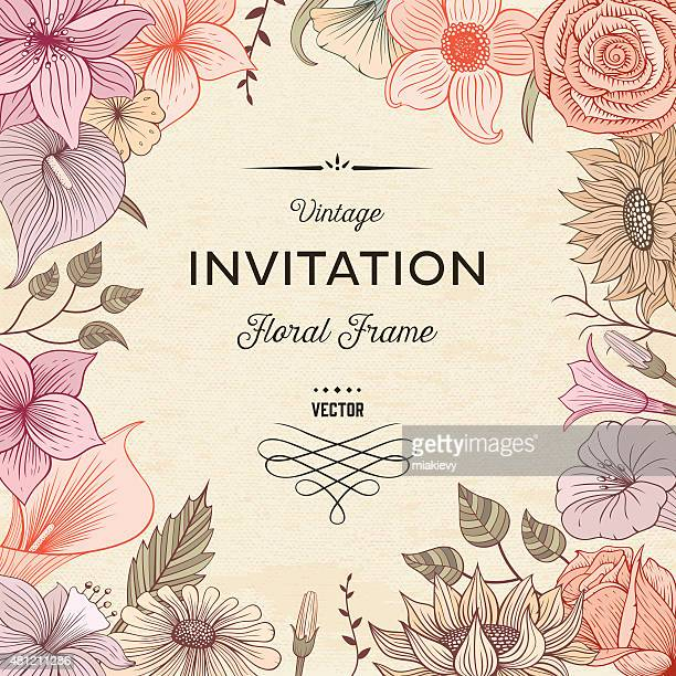 floral border textured - lily stock illustrations, clip art, cartoons, & icons