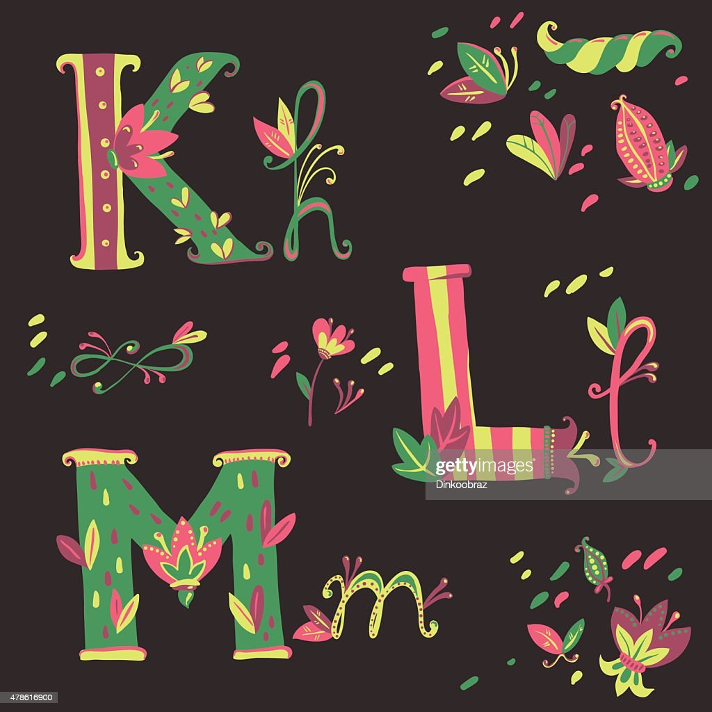 Floral bright hand drawn vector alphabet and design elements. Pl
