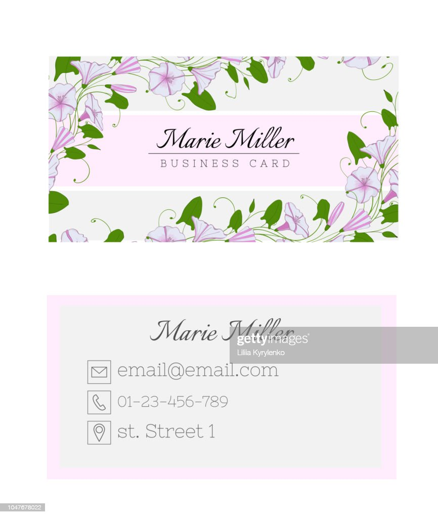 Floral business card template. Elegant feminine design with flowers binweed and convolvulus.