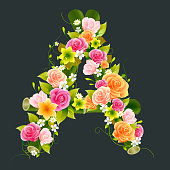 Floral Capital letter A on bamboo