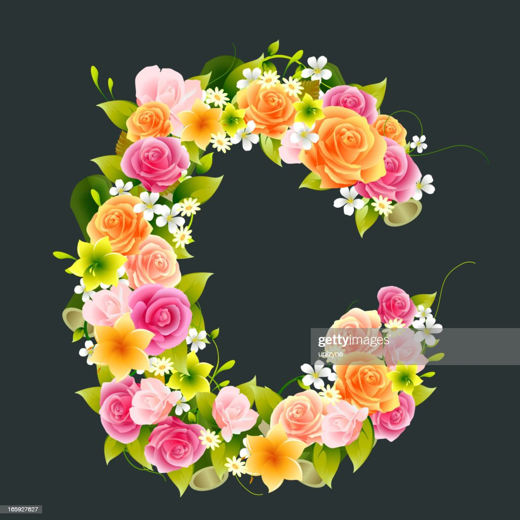 Floral Capital letter C on Bamboo