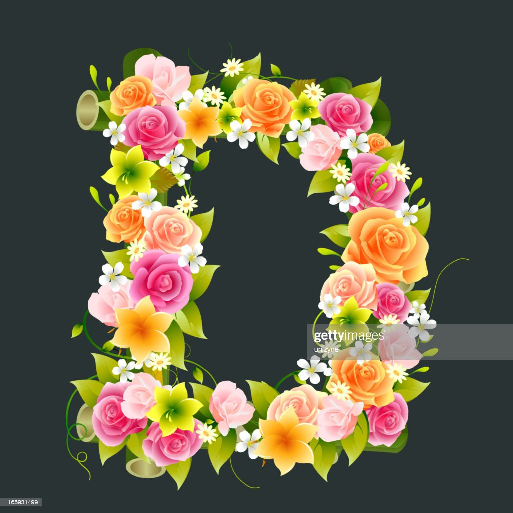 Floral Capital letter D on Bamboo