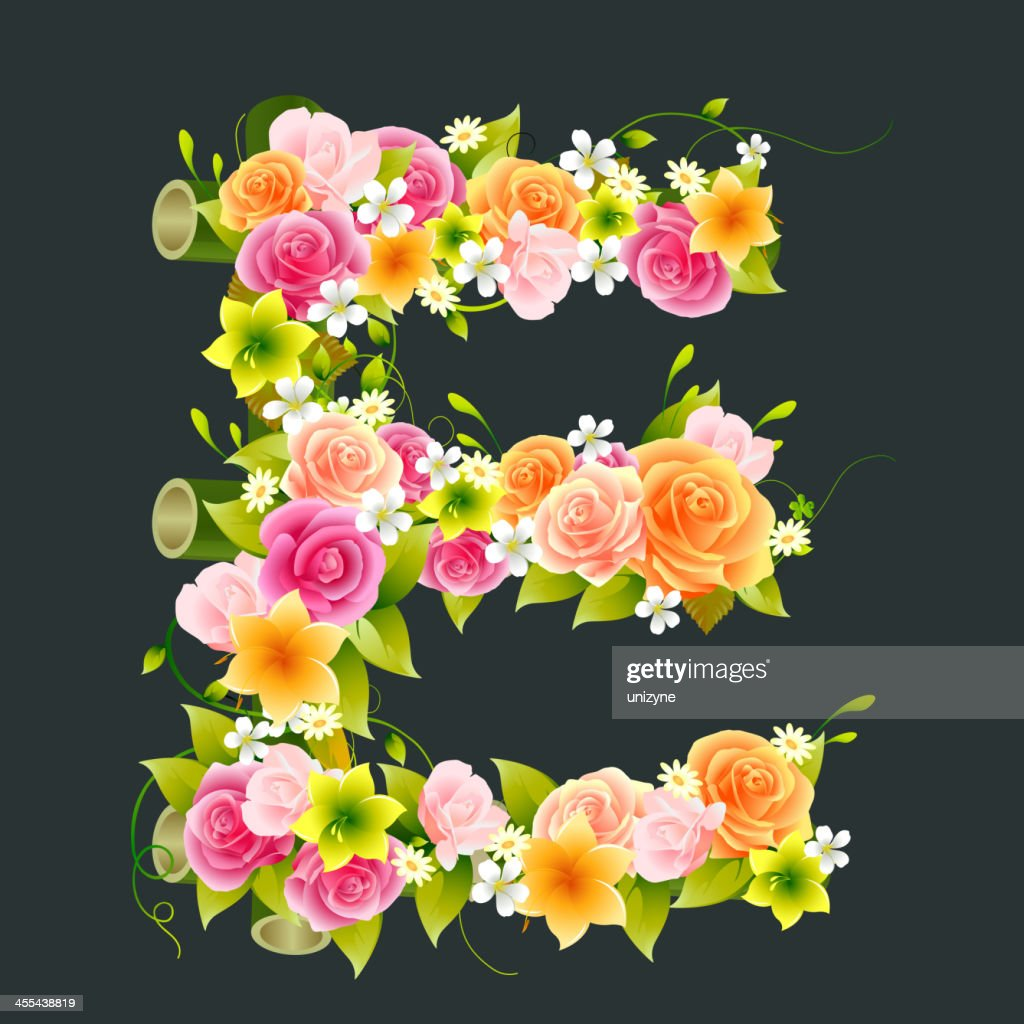 Floral Capital letter E on Bamboo