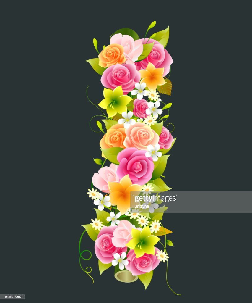 Floral Capital letter I on Bamboo