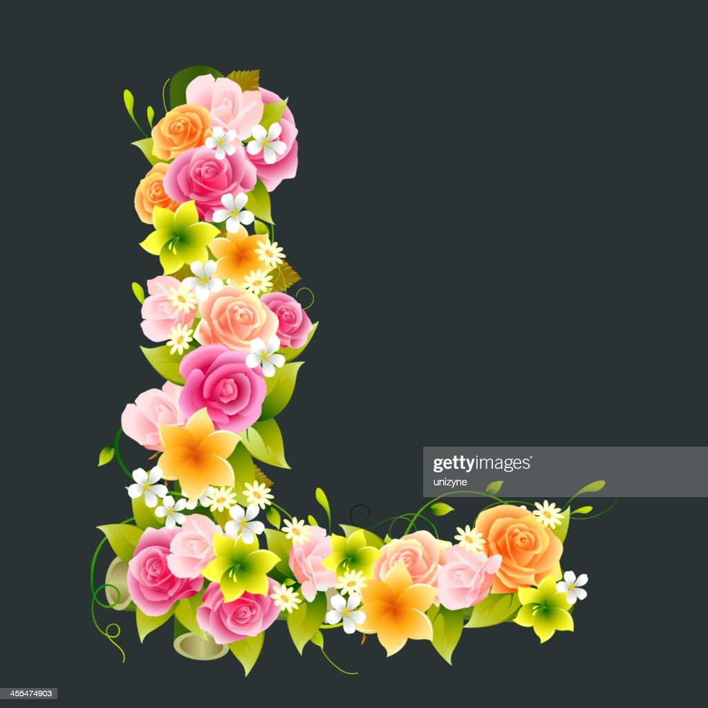 Floral Capital letter L on Bamboo