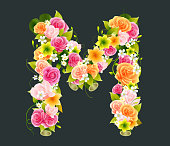 Floral Capital letter M on Bamboo