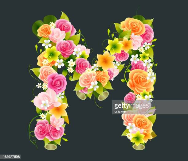 floral capital letter m on bamboo - letter m stock illustrations, clip art, cartoons, & icons