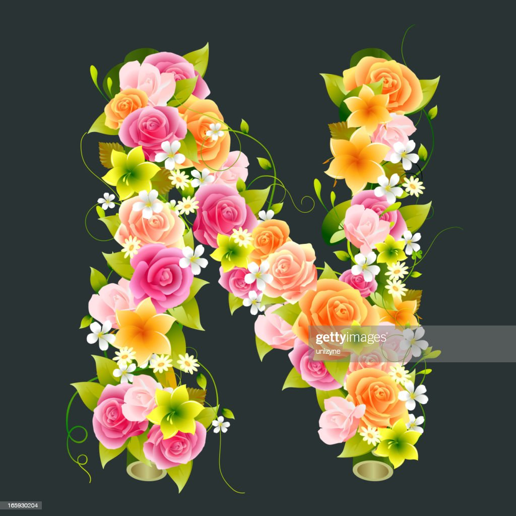 Floral Capital letter N on Bamboo