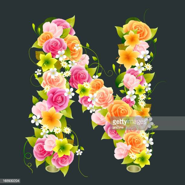 floral capital letter n on bamboo - nature alphabet letters stock illustrations