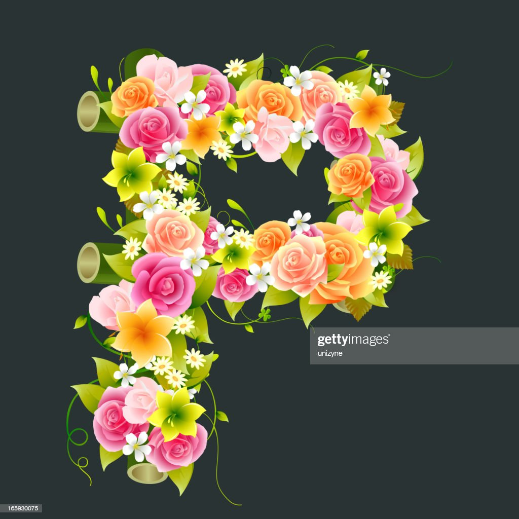 Floral Capital letter P on Bamboo