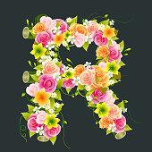 Floral Capital letter R on Bamboo