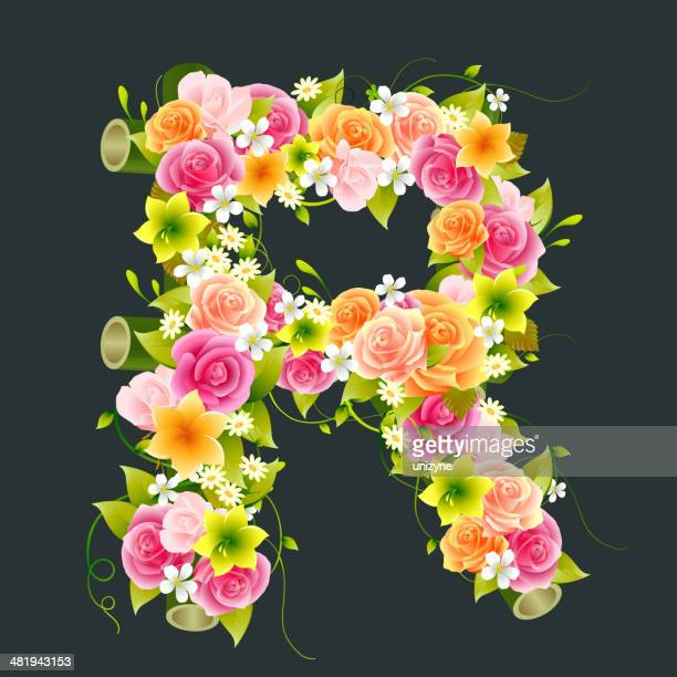 floral capital letter r on bamboo - nature alphabet letters stock illustrations
