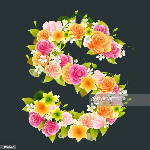 floral capital letter s on bamboo - letter s stock illustrations, clip art, cartoons, & icons
