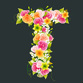 Floral Capital letter T on Bamboo