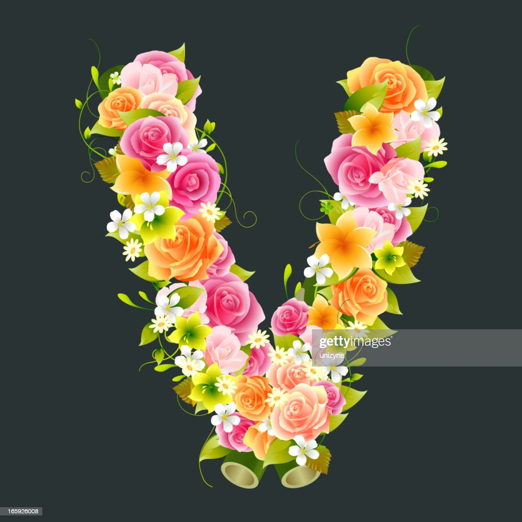 Floral Capital letter V on Bamboo