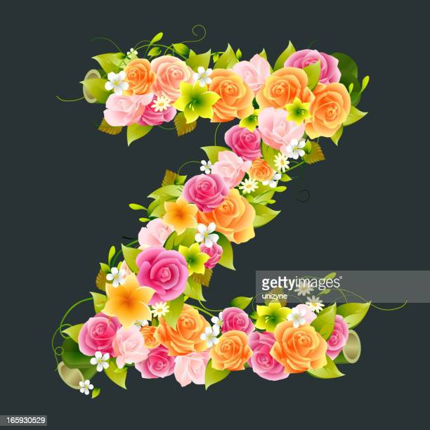 Floral Capital letter Z on Bamboo