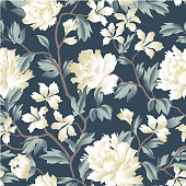 Floral chinese seamless pattern. Wild flower background. Flourish wallpaper with peony