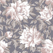 Floral chinese seamless pattern. Wild nature flower background.