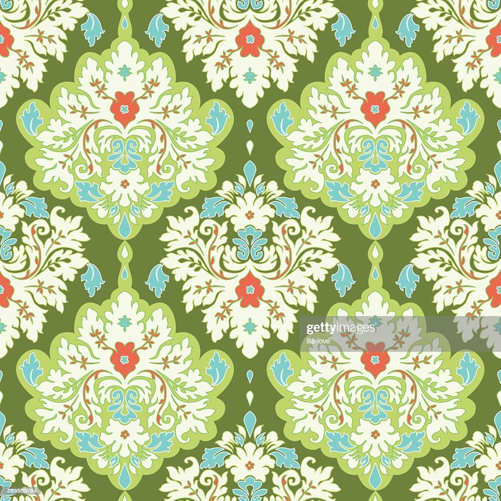 Floral colorful damask seamless pattern. Classic background