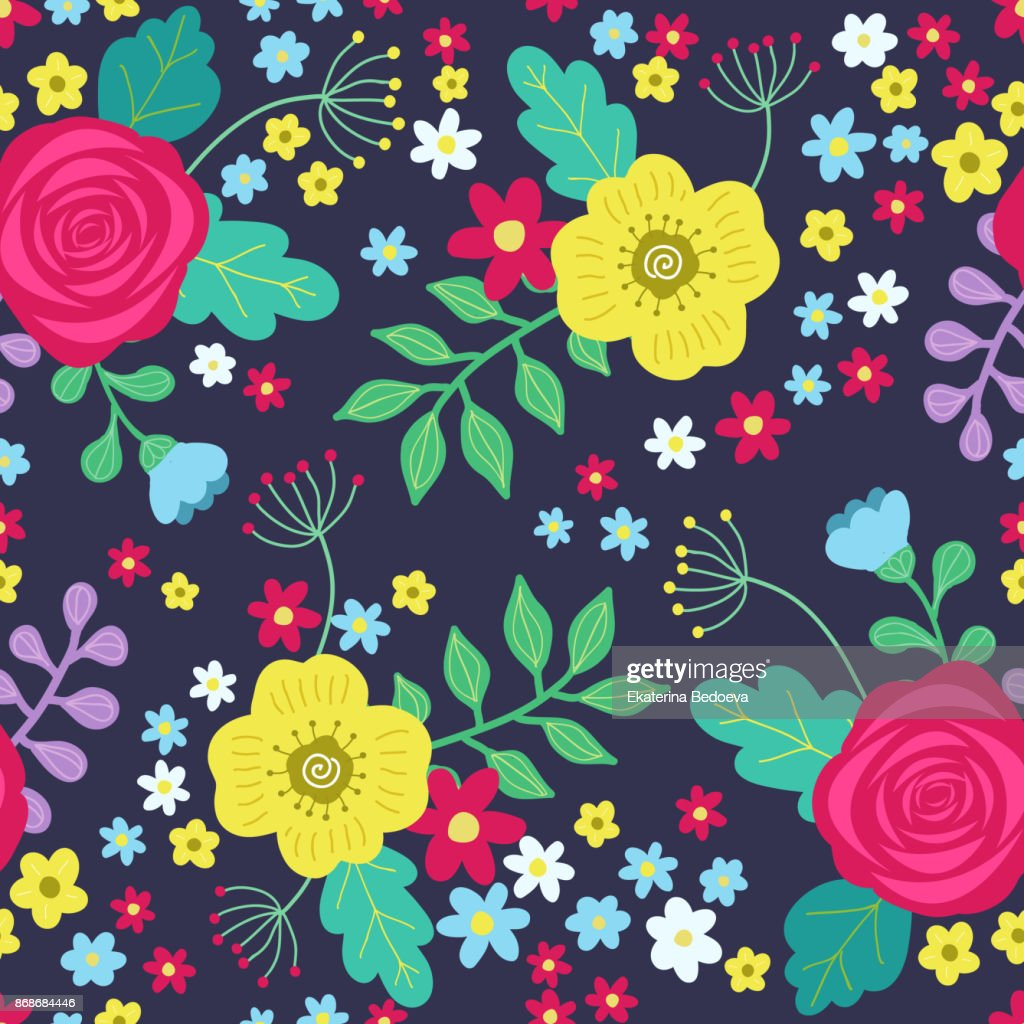 Floral Colorful Seamless Pattern With Red And Yellow Roses And Blue