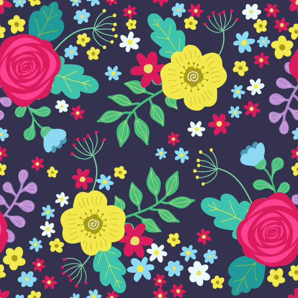 Floral colorful seamless pattern with red and yellow roses and blue flowers and green leaves on dark background.