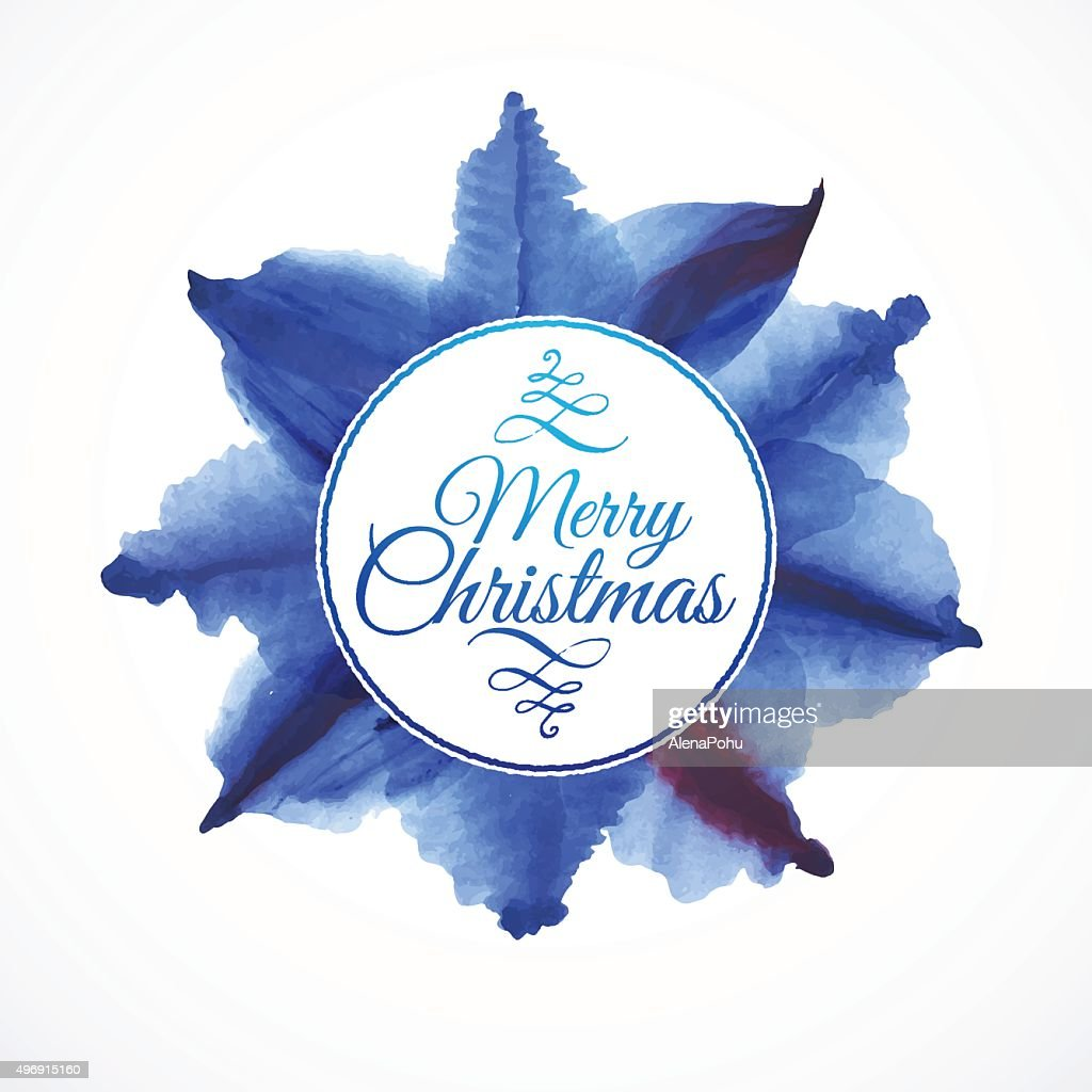 Floral composition background, lettering Merry Christmas with watercolor blue leaves