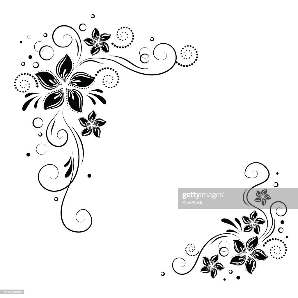 Floral corner design. Ornament black flowers on white background -