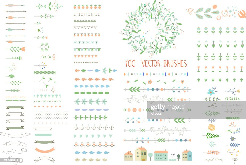 Floral decor set. 100 different vector brushes and decor elements.