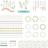 Floral decor set. Different vector brushes and decor elements. Isolated.