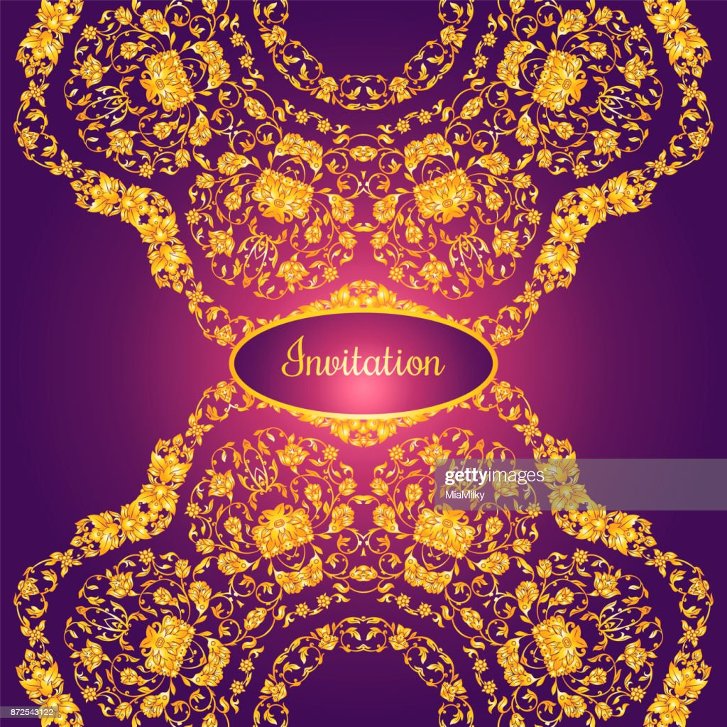 Floral Decorated Invitation Card With Antique Luxury Gold