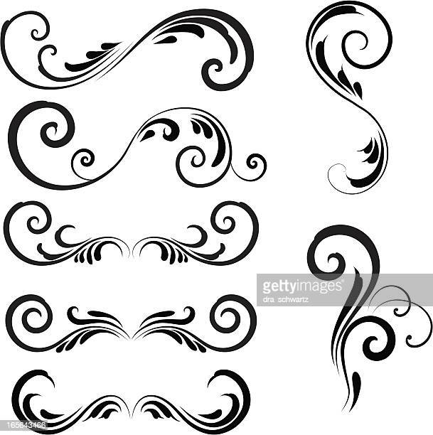 floral decorative design elements - architectural feature stock illustrations, clip art, cartoons, & icons