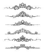 Floral design crown calligraphic elements